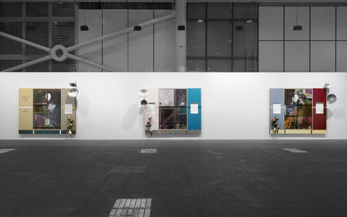 Helen Marten Under Blossom EFG, 2015 Triptych screen printed panels: screen printed suede, leather and waxed cotton, pressed Formica, ash, cherry, walnut, welded galvanised steel, glazed ceramic, strings, cast bronze and aluminum, coloured pencil drawing under resin Each: 105 7/8 x 131 1/2 x 3 1/8 inches (268.9 x 334 x 7.9 cm)