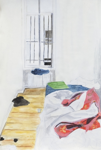 Juliette Blightman Bedroom, Mehringdamm, 2014 Gouache on paper Paper: 8 1/8 x 5 3/8 inches (20.6 x 13.7 cm) Frame: 9 3/4 x 7 inches (24.8 x 17.8 cm)