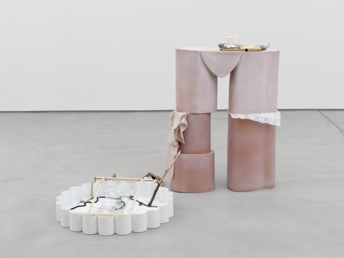 Candy Mandible, Mrs, 2014 Glazed ceramic; cast aluminium; bent and painted wire; pvc; joined bike chains; wood; fabric; cast resin; rose petals; twig; sugar Ceramic: 47 3⁄8 x 39 1⁄4 x 13 1⁄4 in  Tray: 4 3⁄8 x 20 3⁄4 x 31 1⁄8 in