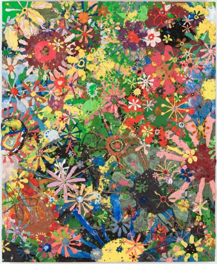 gelitin Flower painting, 2009 plasticine on wood panel 49 1/2 x 40 1/2 x 3/4 inches 126 x 103 x 2 cm
