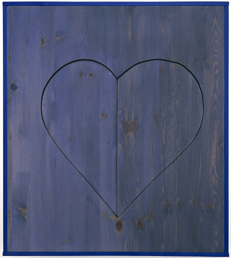 Michaela Meise  Heart (blue), 2006  wood, stain, wax, resin lacquer  28 1/4 x 25 1/4 x 2 inches (71.8 x 64.1 x 5.1 cm)