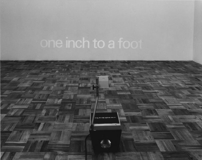 John Knight  One Inch to a Foot, 1971  Overhead projector, photo-negative glass plate  Overall: 26 1 /2 x 112 x 144 inches (71.1 x 284.5 x 365.8 cm)