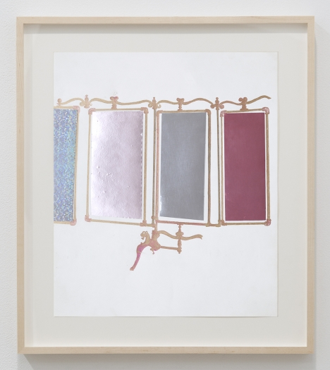 Julie Becker dream house accessory, 2015 Mixed media on paper Paper: 16 5/8 x 14 inches (42.2 x 35.6 cm) Frame: 20 7/8 x 18 1/2 x 1 1/2 inches (53 x 47 x 3.8 cm)