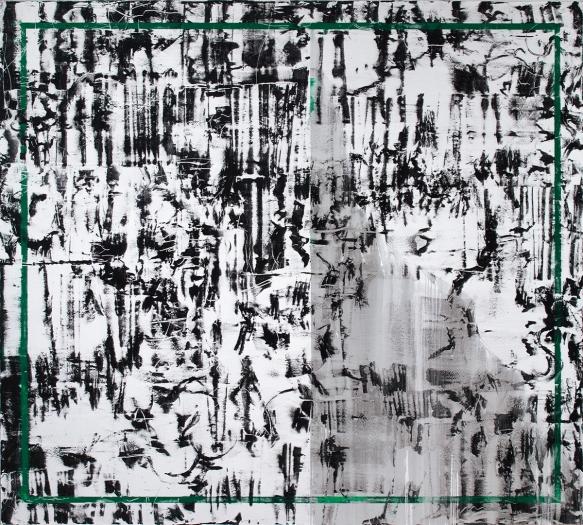 Jacqueline Humphries 41/14, 2014 Oil on linen 114 x 127 inches (289.6 x 322.6 cm)