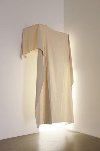 Gedi Sibony The Second Innermost Adornment, 2012 Drop cloth, wood 110 1/4 x 59 1/8 x 39 3/8 inches (280 x 150.2 x 100 cm)