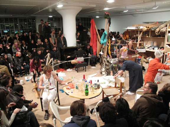 Performance view, Blind Sculpture, Greene Naftali, New York, 2010