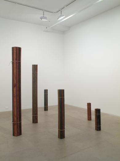 Michaela Meise Bündel, 2009 wood, gouache, oil, twine, six parts 74 7/8 x 107 x 37 inches 190.2 x 271.8 x 94 cm