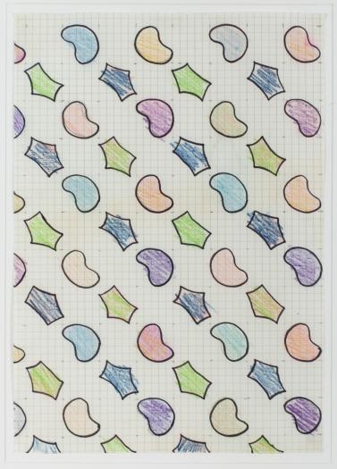 Konrad Lueg Untitled (Muster auf Kästchenpapier), Unknown Colored pencil, pencil and felt pen on graph paper Paper: 11 5/8 x 7 7/8 inches (29.5 x 20 cm) Frame: 17 3/4 x 14 3/8 inches (45.2 x 36.7 cm)