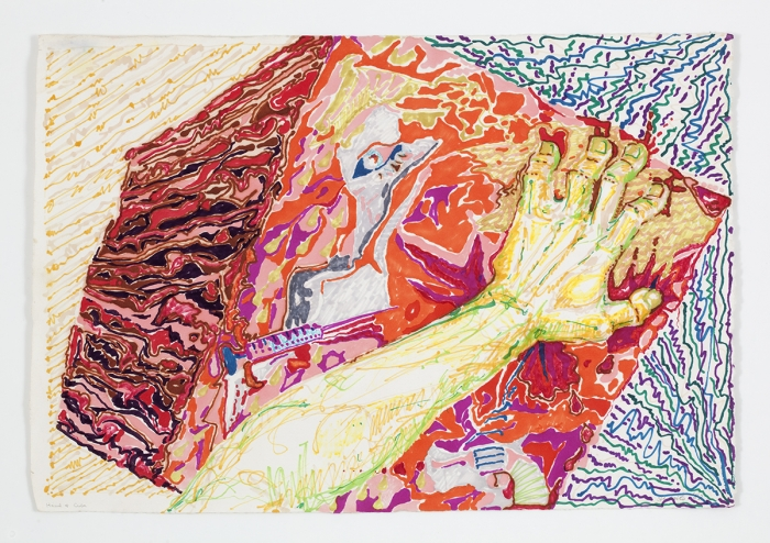 Paul Sharits Hand and Cube, 1982 Colored feltpen on paper Paper: 16 1/2 x 24 1/4 inches (41.9 x 61.6 cm) Frame: 21 x 28 7/8 inches (53.3 x 73.3 cm)