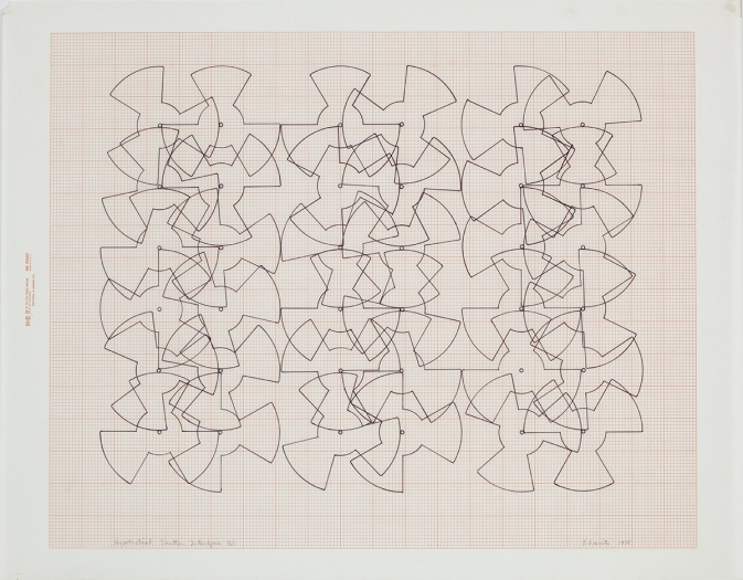 Paul Sharits Hypothetical Shutter Interface G/1, 1976 colored ink on graph paper 18 x 23 inches paper 45.7 x 58.4 cm