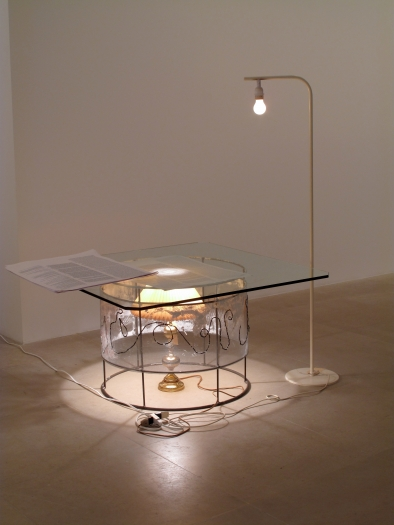 Josef Strau Untitled, 2008 mixed media table, lamps, inkjet print poster overall dimensions variable