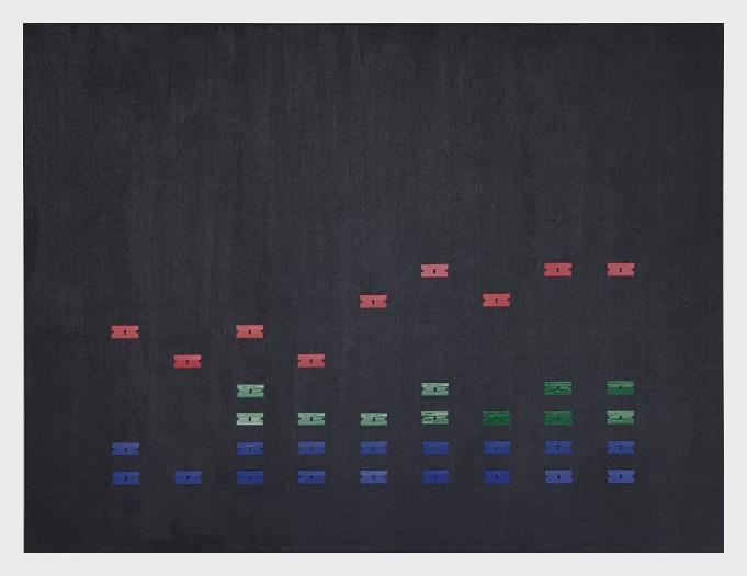 Nicolas Ceccaldi Equalizer 1, 2017 Acrylic and blades on canvas 30 x 40 inches (76.2 x 101.6 cm)