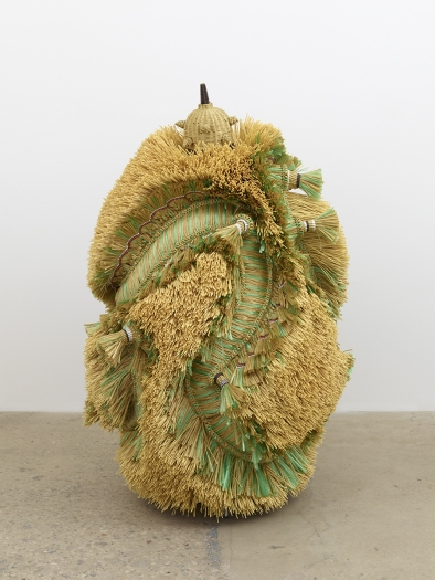 Haegue Yang The Intermediate – Dragon Conglomerate, 2016 Artificial straw, steel stand, powder coating, artificial plants, artificial fruits, artificial vegetable, plastic twine, Indian bells, fringes, casters 70 7/8 x 45 1/4 x 45 1/4 inches (180 x 115 x 114.9 cm)