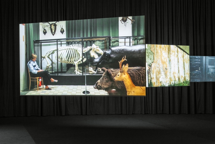 Installation view, Labor in a Single Shot: A project by Antje Ehmann and Harun Farocki, Haus der Kulturen der Welt, Berlin, 2015