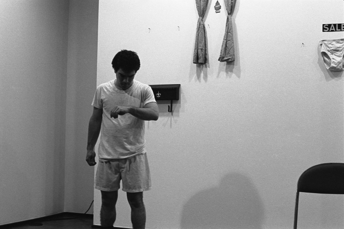 Michael Smith, Down in the Rec Room, 1980  Performance view, Castelli Graphics, New York, 1980