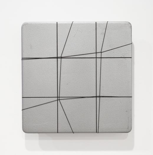 Spazio Elastico, 1974 Acrylic on board with elastic 20 1/2  x 20 1/2 inches Installation view Greene Naftali, New York, 2013