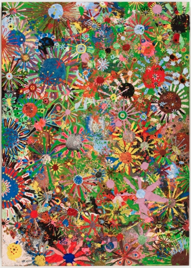 gelitin Flower painting, 2009 plasticine on wood panel 75 x 53 x 3/4 inches 190 x 135 x 2 cm