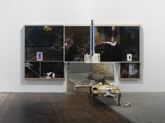 On aerial greens (haymakers), 2015  Part 1: lacquered hardwood, steel, shoe soles, rubber, cast rubber, cast resin, stitched fabric, pipe tubing, galvanised cardboard, string, stamped baking paper, limes, marbles, embroidered fabric  Part 2: screen printed suede, leather and PVC, hand thrown glazed ceramic, lacquered hardwood, Formica, cast resin, cast rubber, woven straw  91 7/8 x 180 1/2 x 18 1/2 inches (233.5 x 458.5 x 47 cm)