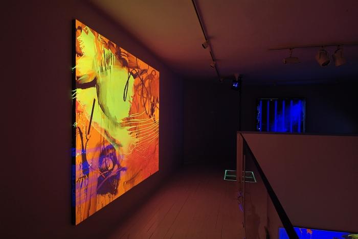Jacqueline Humphries, Installation view, Black Light Paintings, NyeHaus, New York, 2005