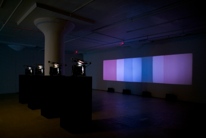 Paul Sharits Shutter Interface, 1975 4-screen 16mm loop projection with 4 separate soundtracks, color Indefinite duration
