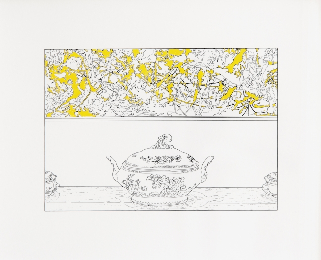 Louise Lawler Pollock and Tureen (traced and painted), 1984/ 2013/ 2014 Gouache on archival pigment print Image: 8 x 10 inches (20.3 x 25.4 cm) Frame: 9 3/8 x 11 3/8 inches (23.8 x 28.9 cm)