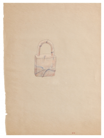 Beom Kim Untitled (Lock), 1995 Pencil and color pencil on paper Paper: 12 1/8 x 8 7/8 inches (22.5 x 30.8 cm) Frame: 14 7/8 x 11 7/8 inches (37.8 x 30.2 cm)