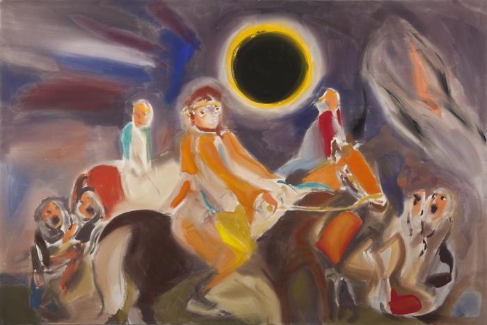 Sophie von Hellermann Prince Igor and Solar Eclipse, 2013 Acrylic on canvas 78 3/4  x 118 1/8 inches (200 x 300 cm)
