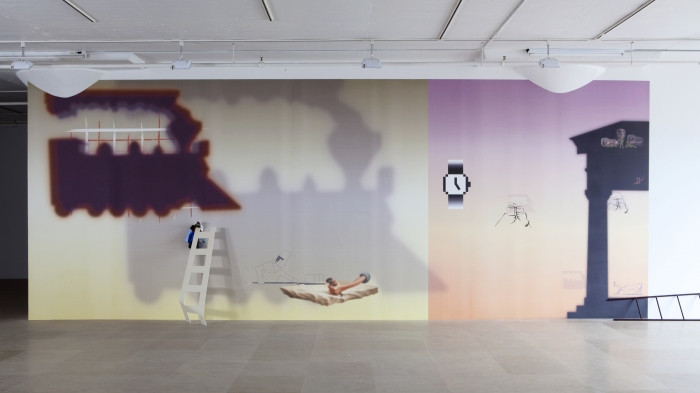 Helen Marten  Some Civic Shades (Highball Hi Rise), 2011  Digitally printed wallpaper from vector drawing  128 x 388 x 21 inches (325.1 x 985.5 x 53.3 cm)