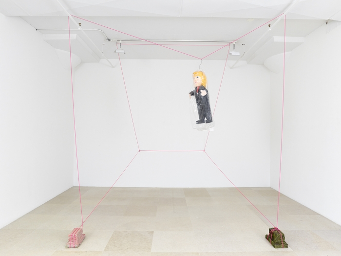 Rachel Harrison  The Sandbag, 2015  Wood, polystyrene, cement, acrylic, piñata, and parachute cord  Dimensions variable