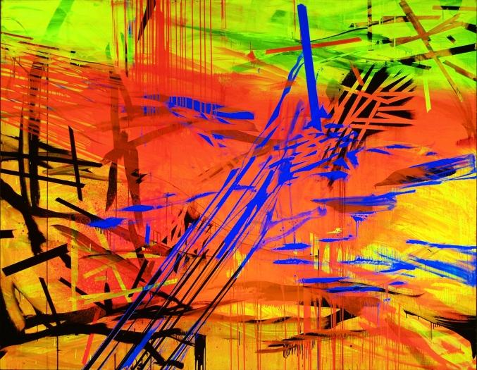 Jacqueline Humphries Sunset Noir, 2005 Oil on linen 85 x 110 inches 215.9 x 279.4 cm