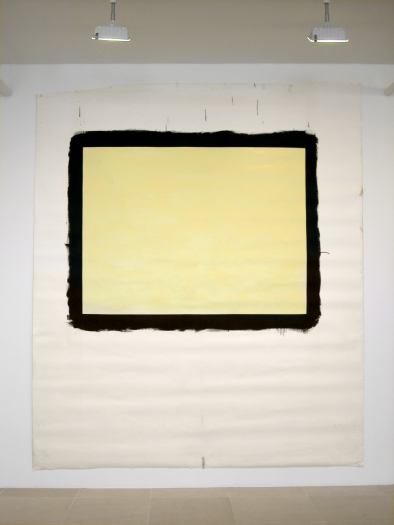 Tony Conrad  Yellow Movie 2/27-28/73, 1973  Emulsion: Citron tinted low lustre enamel, Speedflex Latex Colorizer, Brooklyn Paint & Varnish Co.  Base: Studio white seamless paper  122 x 106 inches