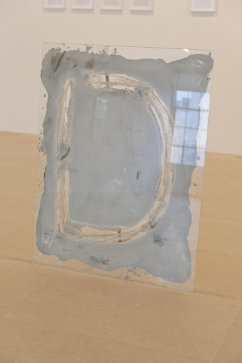 Gerry Bibby, Floor Show I (D), 2016, Glass, concrete, latex, detritus, 46 x 35 3/8 inches (116.8 x 89.9 cm)