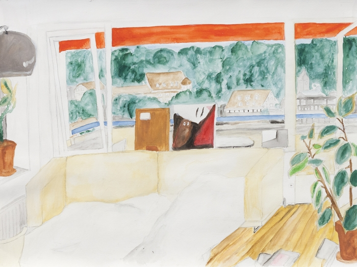 Juliette Blightman Scott's House, Bregenz, 2014 Gouache on paper Paper: 14 1/8 x 18 7 /8 inches (35.9 x 66 cm) Frame: 15 5/8 x 20 3/8 inches (39.7 x 51.8 cm)