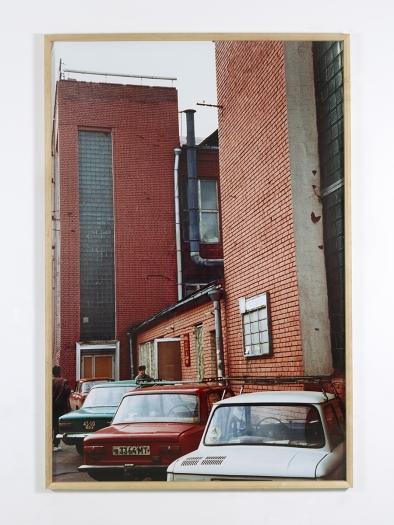 Lastwagendepot (Konstantin Melnikov), 1995  Color photograph 106 1/4 x 70 7/8 inches