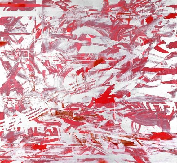 Jacqueline Humphries  Good'n Plenty, 2007  Oil and enamel on linen  80 x 87 inches (203.2 x 221 cm)
