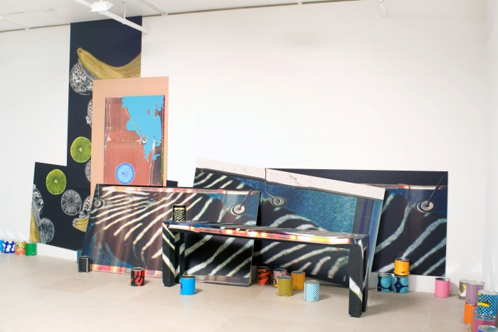 Guyton\Walker  Untitled, 2009  Paint, silkscreen, and inkjet print on canvas, Formica table, inkjet print on drywall, inkjet prints on paint cans  138 x 270 x 75 inches (350.5 x 685.8 x 190.5 cm) overall