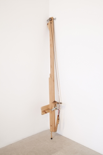Tony Conrad Electric Bass, c. 1996 Wood, bass strings, electric pickup, tuning keys 74 3/4 x 12 1/2 x 8 5/8 inches (190 x 32 x 22 cm)