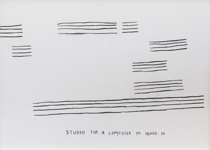 Christine Sun Kim  Studio For A Composer To Work In, 2016  Charcoal on paper  Paper: 19 5/8 x 27 1/2 inches (49.8 x 69.9 cm)  Frame: 20 1/2 x 28 1/4 inches (52.1 x 71.8 cm)