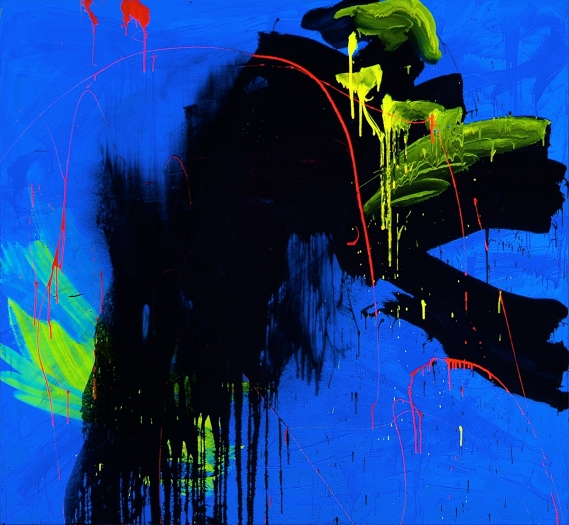 Jacqueline Humphries Against Day, 2005 Oil on linen 72 x 78 inches 182.9 x 198.1 cm