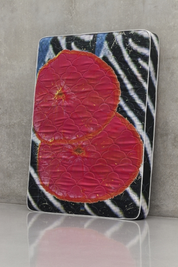 Guyton \ Walker Zebra_Bloodorange_Mattress, 2013 Mattress 80 x 60 x 8 inches (203.2 x 152.4 x 20.3 cm)