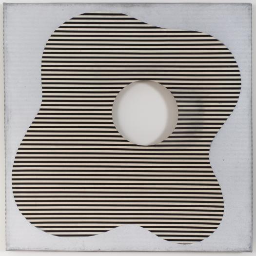 Konrad Lueg Untitled (Gemusterte Plastikfolie, Streifen), 1966 Plastic film on wood 19 3/4 x 19 5/8 (50 x 50 cm)