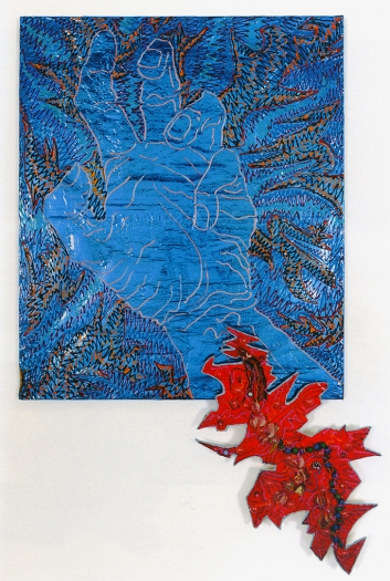 Paul Sharits Infected Hand III, 1982 Acrylic on blue Mylar, mixed media, foam core attachment 62 x 43 inches (157.5 x 109.2 cm)