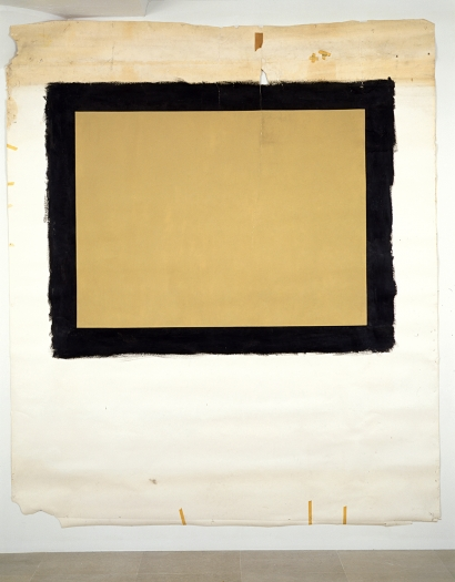 Tony Conrad  Yellow Movie 4/3/73, 1973  Emulsion: Honey beige low lustre enamel, water base, tinted midtone base  Base: Studio white seamless paper  126 1/2 x 107 inches