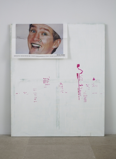 Michael Krebber Silverscreen (the New Yorker), 2003 acrylic emulsion on fabric, paper 48 x 40 inches (121.9 x 101.6 cm)