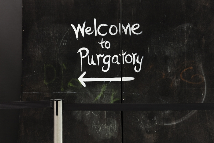 Lutz Bacher Welcome to Purgatory, 2014 Black, white, green, or red paint on plywood panels 54 panels, 96 x 48 inches (243.8 x 121.9 cm) each