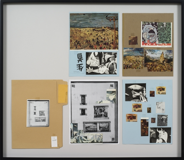 Richard Hawkins Ankoku 82 (Resource folder: Pestilence), 2012 Collage 27 1/8 x 31 1/4 x 1 1/2 inches (68.9 x 79.4 x 3.8 cm)
