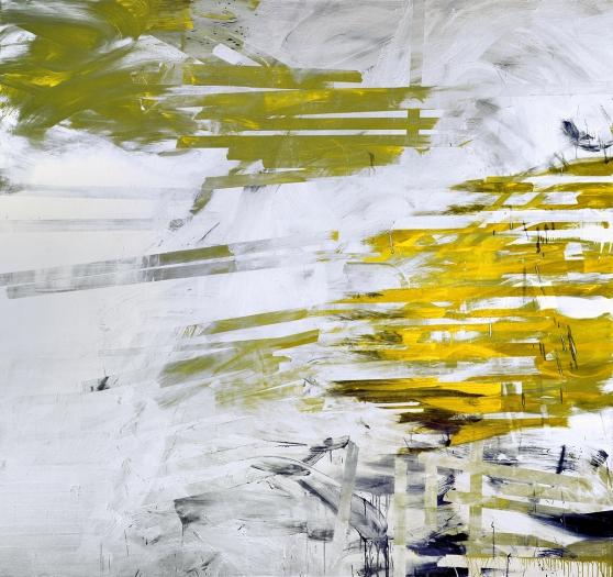 Jacqueline Humphries Stubbornface, 2006 oil on linen 90 x 96 inches 228.6 x 243.8 cm