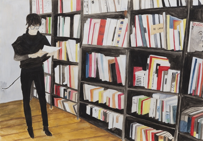 Juliette Blightman Anna And The Libranry, Mehrigndamm, 2014 Grouache on paper 10 7/8 x 15 7/8 inches (27.6 x 40.3 cm) 12 1/2 x 17 1 /2 inches (31.8 x 48.3 cm)