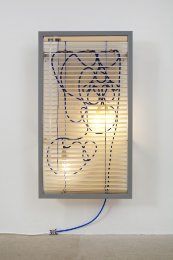 Haegue Yang  Manteuffelstrasse 112 – Single and Solid: Bathroom radiator, 2010  Wall-mounted light sculpture: Aluminum venetian blinds, powder-coated steel frame, perforated metal plate, light bulbs, cable  34 1/4 x 19 1/4 x 2 inches (87 x 49 x 5 cm)