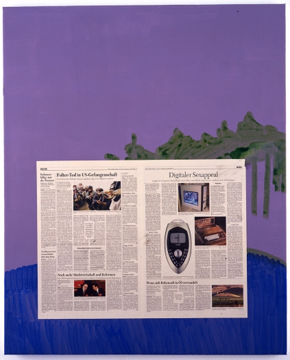 Michael Krebber  Untitled, 2005  acrylic and newspaper on canvas  41.34 x 33.46 inches (105 x 85 cm)